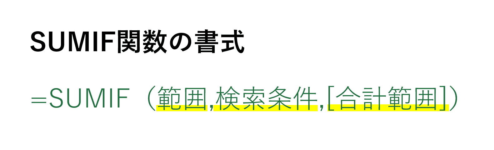 SUMIF関数の書式