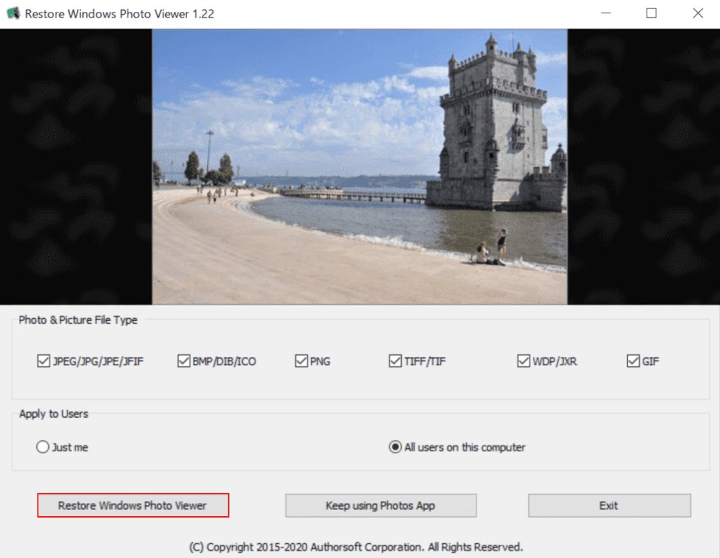 Restore Windows Photo Viewerの起動画面