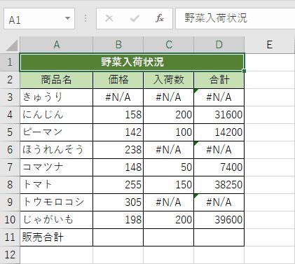 エラー値が混在した表