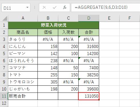 AGGREGATE関数の結果
