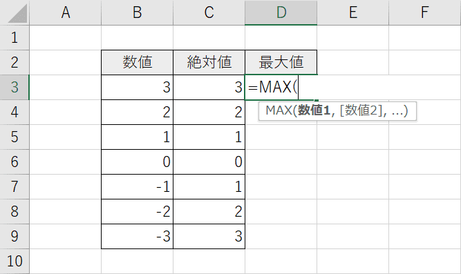 MAX関数の入力