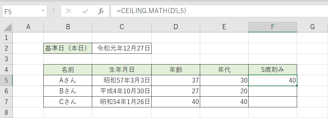 CEILING.MATH関数の結果