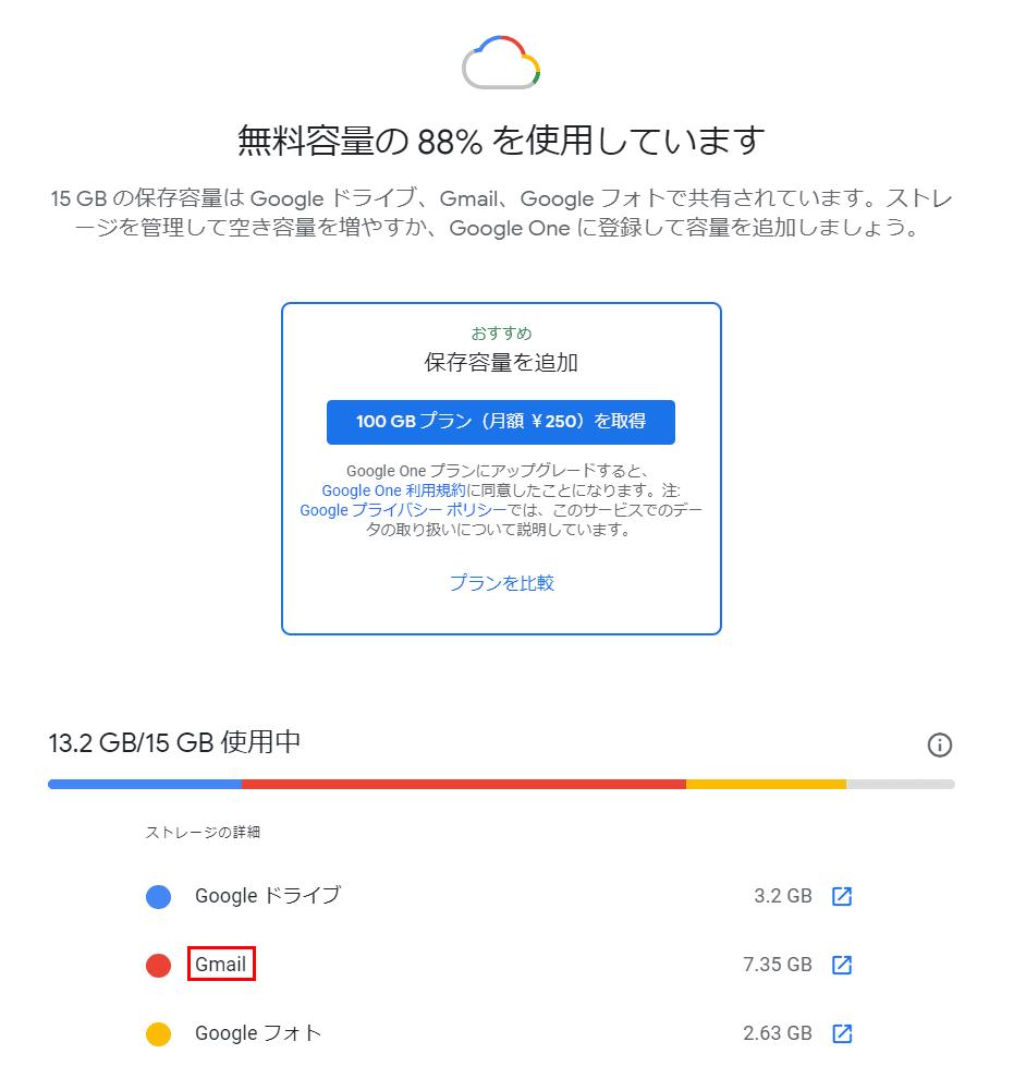 Gmailの容量の確認