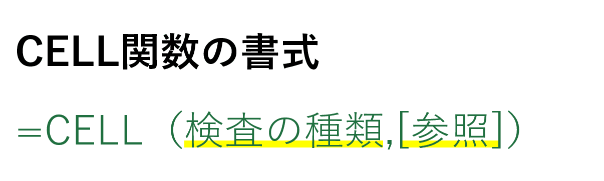 CELL関数の書式