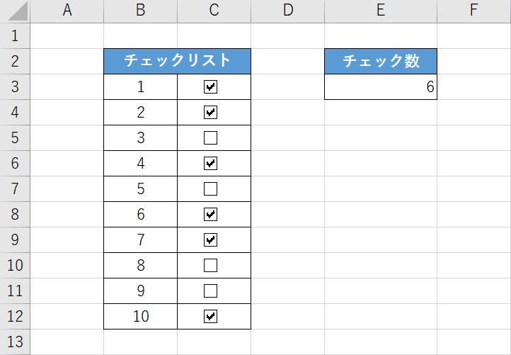 COUNTIF関数とチェックボックスを組み合わせた例