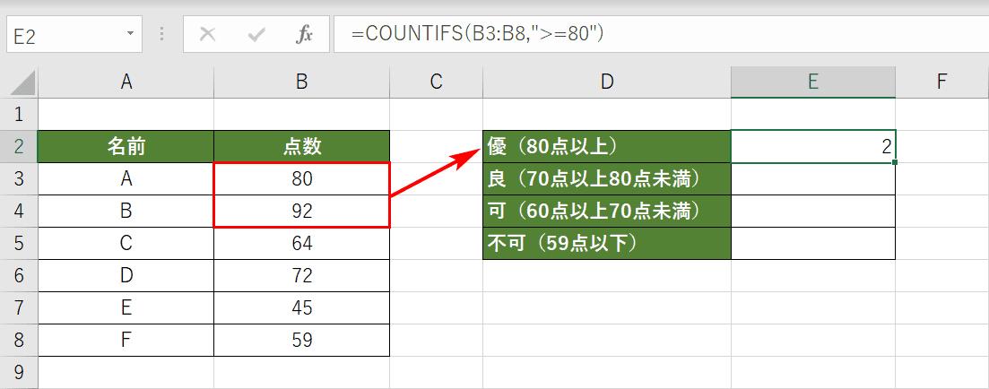 COUNTIFS関数を使った○○以上のセルの個数
