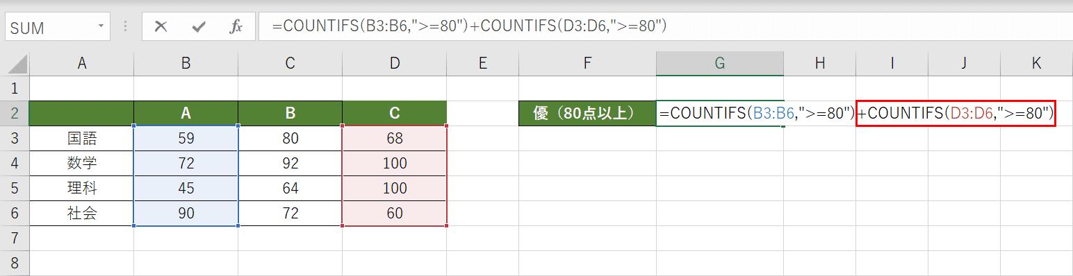 COUNTIFS関数を加算する