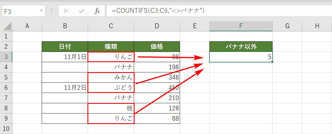 COUNTIFS関数の否定条件の結果