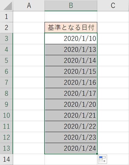 週日単位の連続データ結果