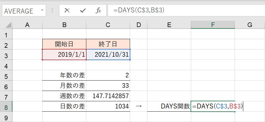 DAYS関数の入力