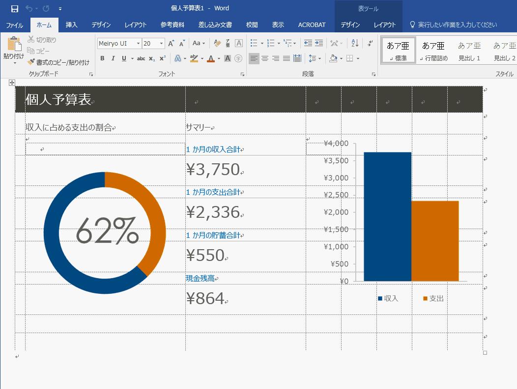 Excelから1度HTMLに変換してからWordに変換した結果