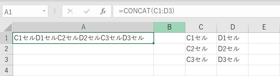 CONCAT関数の結果