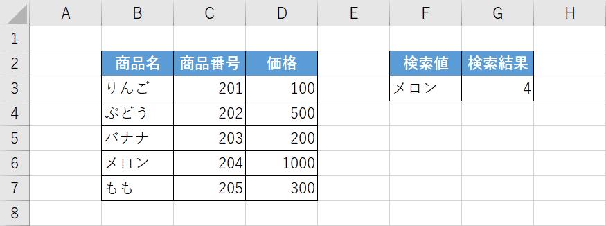 XMATCH関数の例