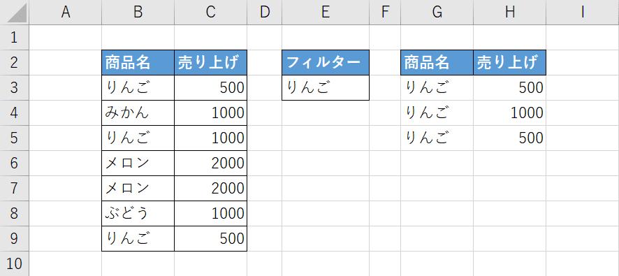 FILTER関数の例