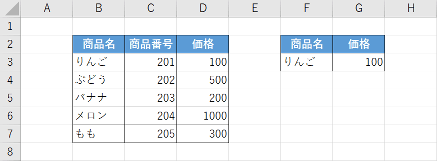 XLOOKUP関数の例