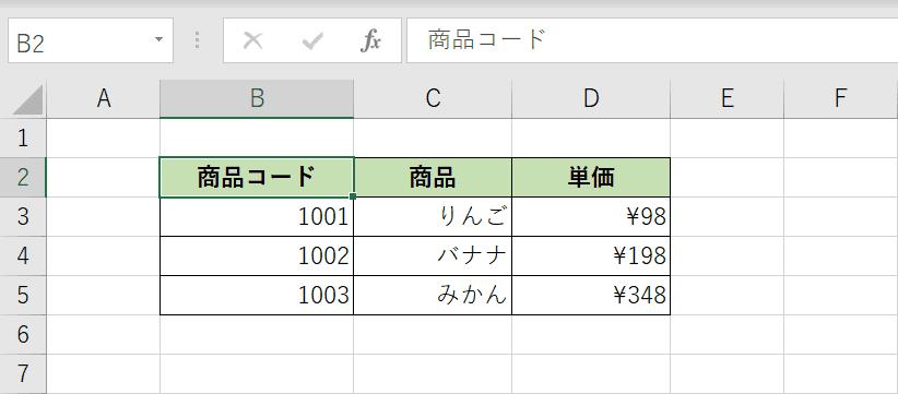 元の表データを用意する