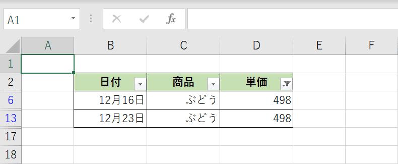 数値フィルターの結果