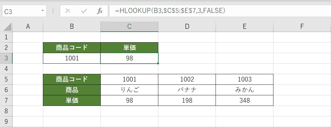 HLOOKUP関数の結果