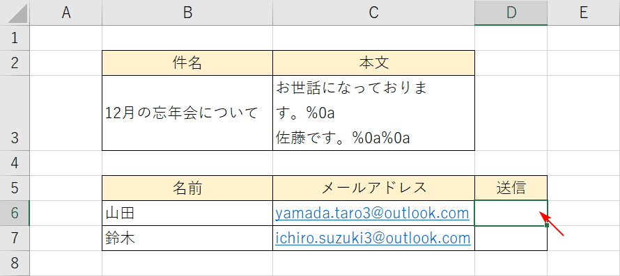 メール送信フォーマット