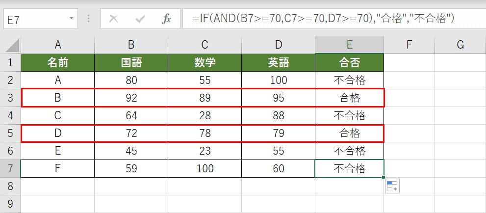 IF関数とAND関数を組み合わせた結果