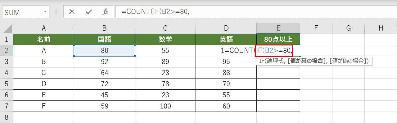 IF関数の入力