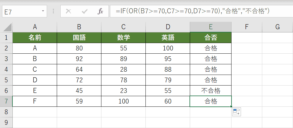 IF関数とOR関数を組み合わせた結果