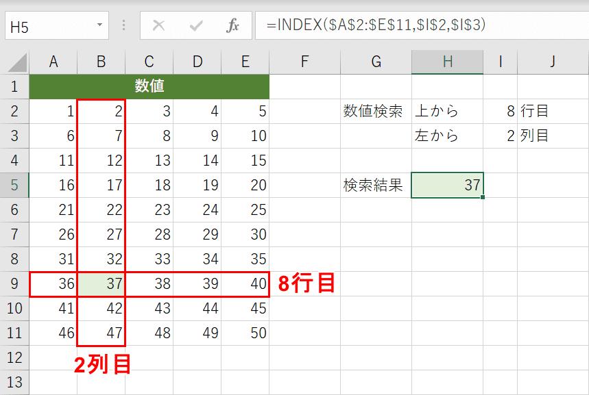 INDEX関数の例
