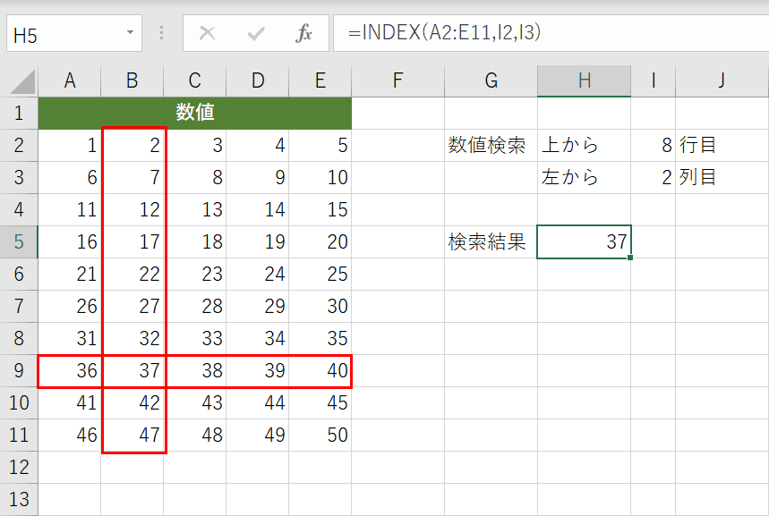 INDEX関数の結果