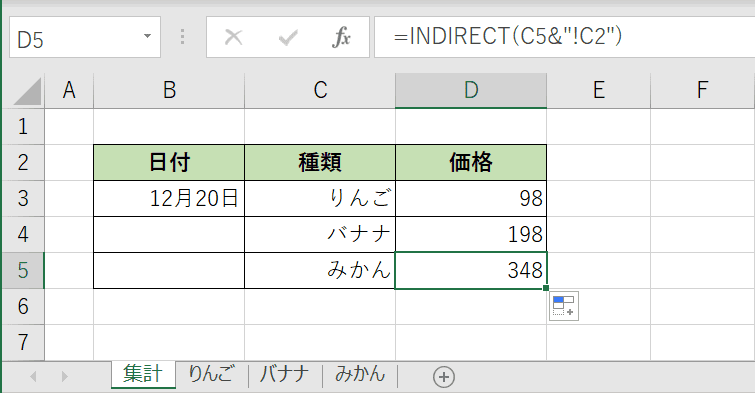 INDIRECT関数の結果