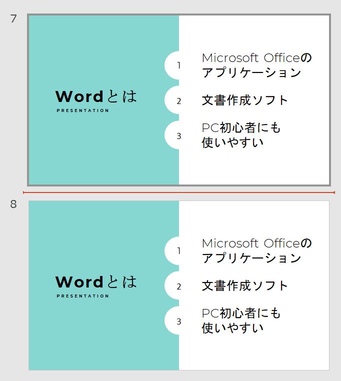 スライドが複製される