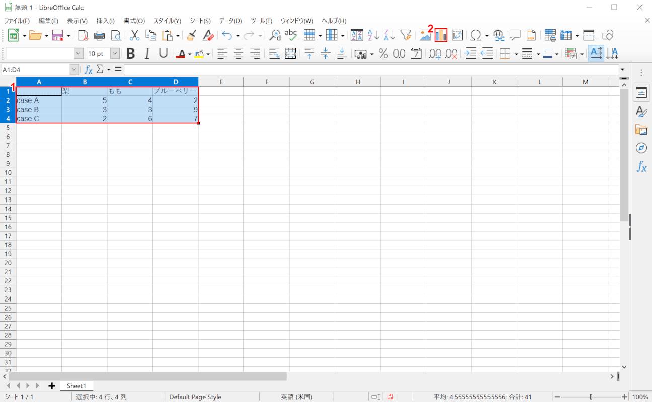 libreoffice calc 記入した数値を選択