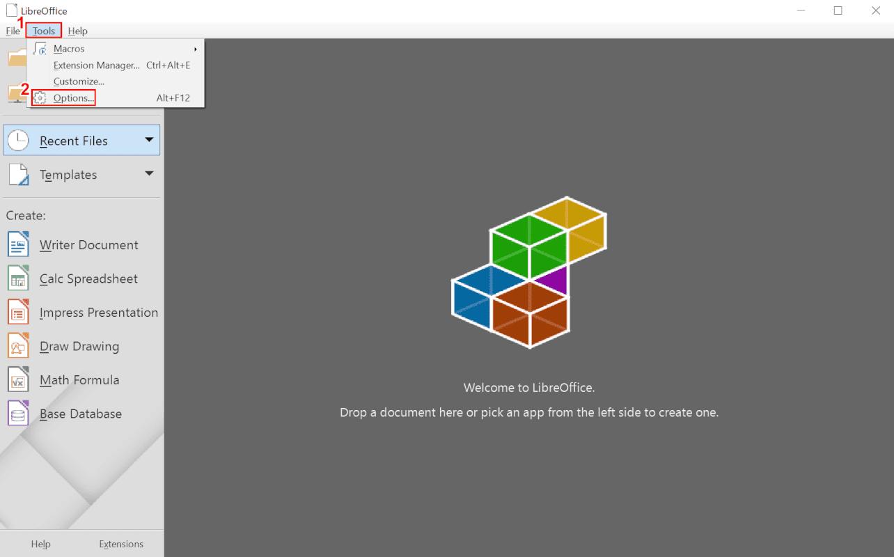 LibreOffice オプションを選択