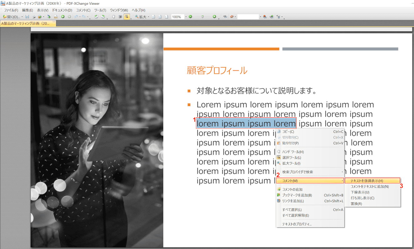 marker PDF-XChange Viewer 選択