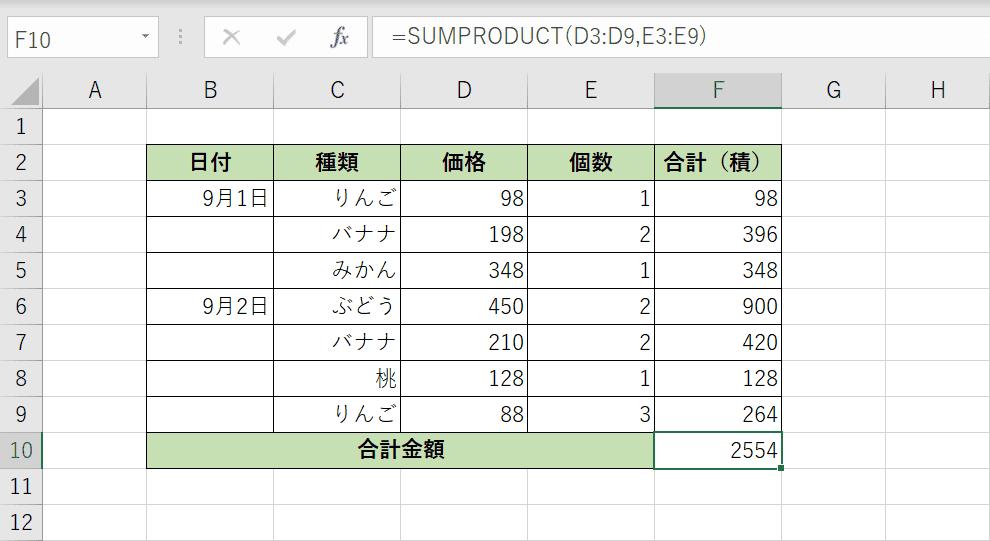 掛け算した結果を合計した結果