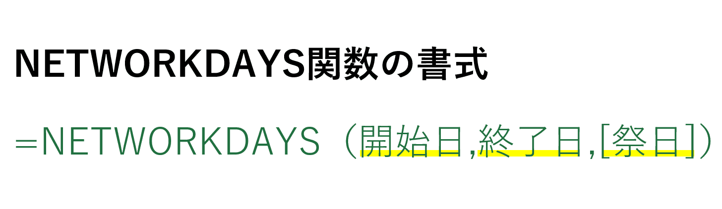 networkdays関数の書式