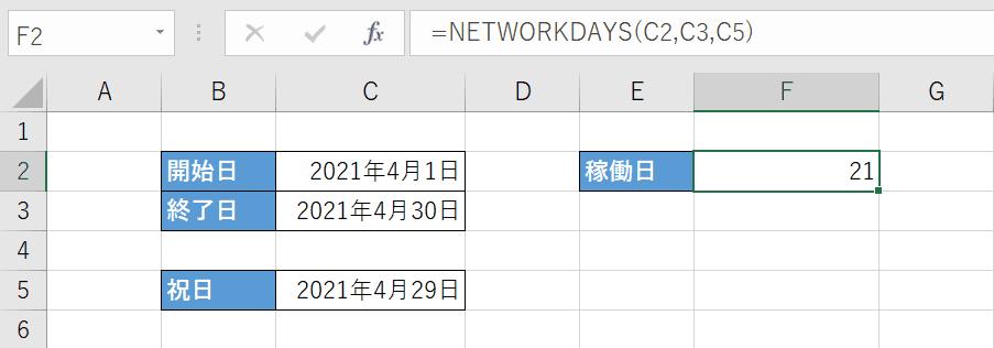稼働日が計算される