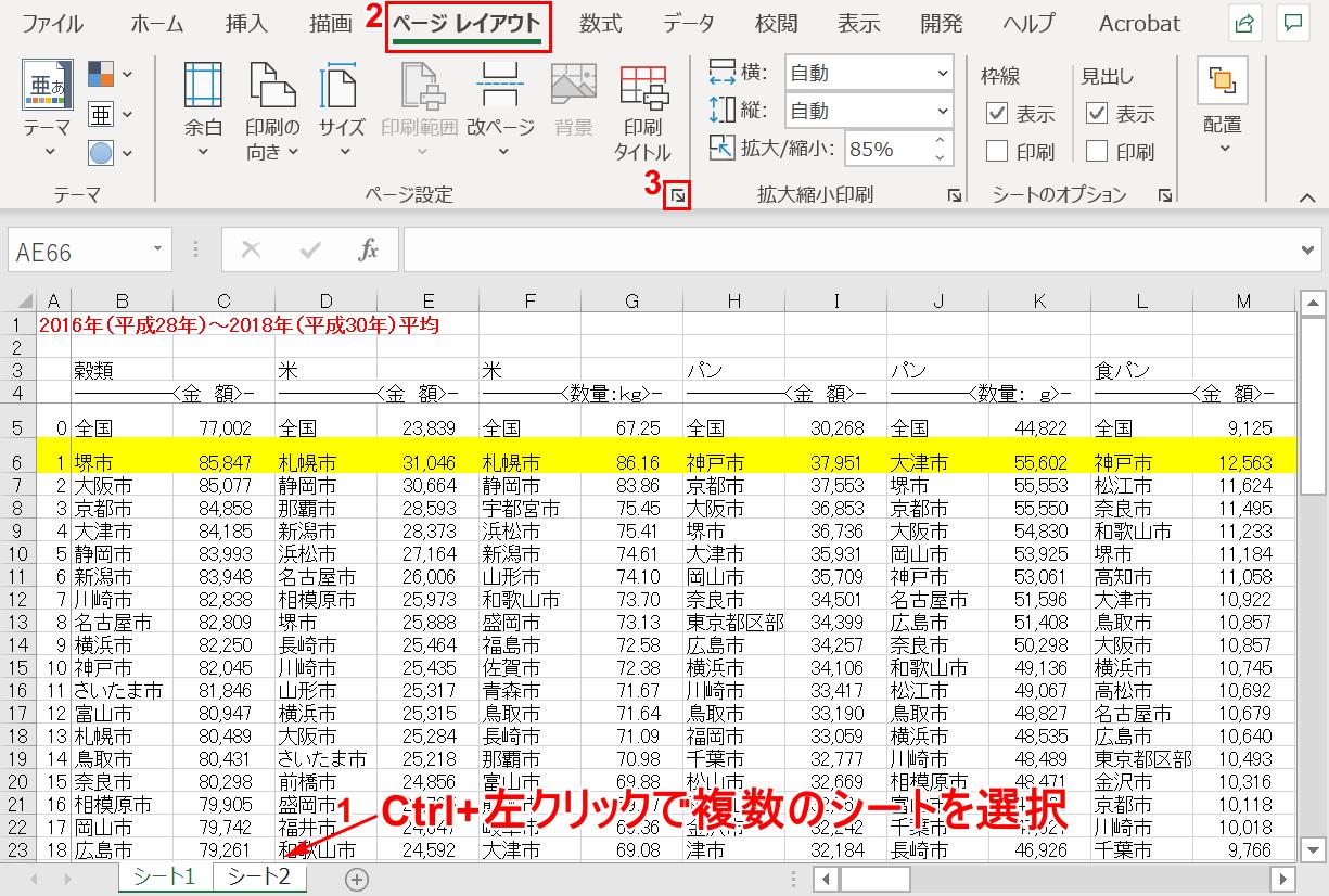 「ページ設定」ダイアログボックス起動ツールの選択