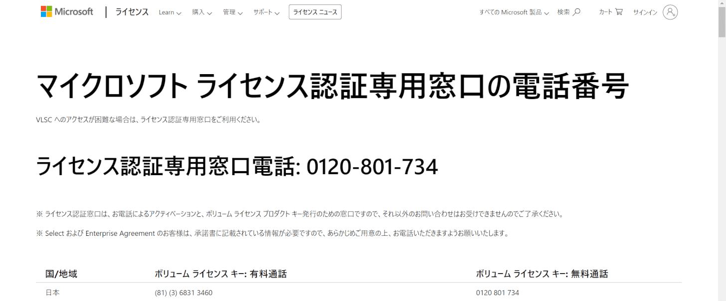 電話でのライセンス認証