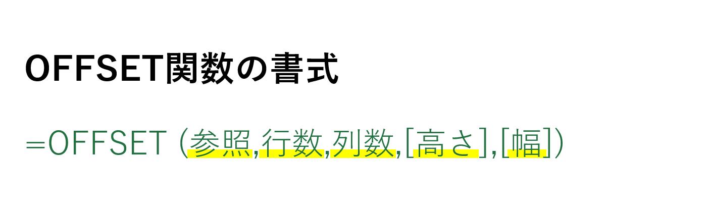 OFFSET関数の書式