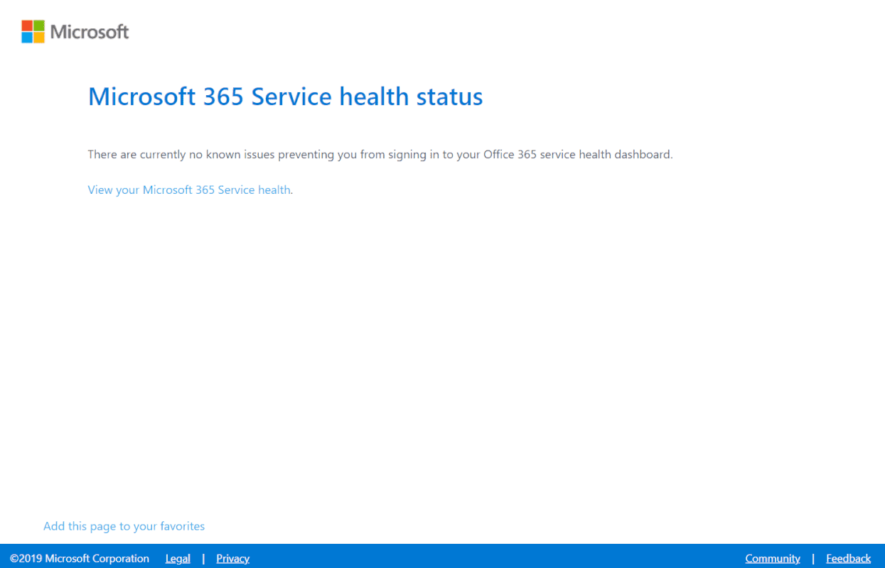 Microsoft 365 Service health status