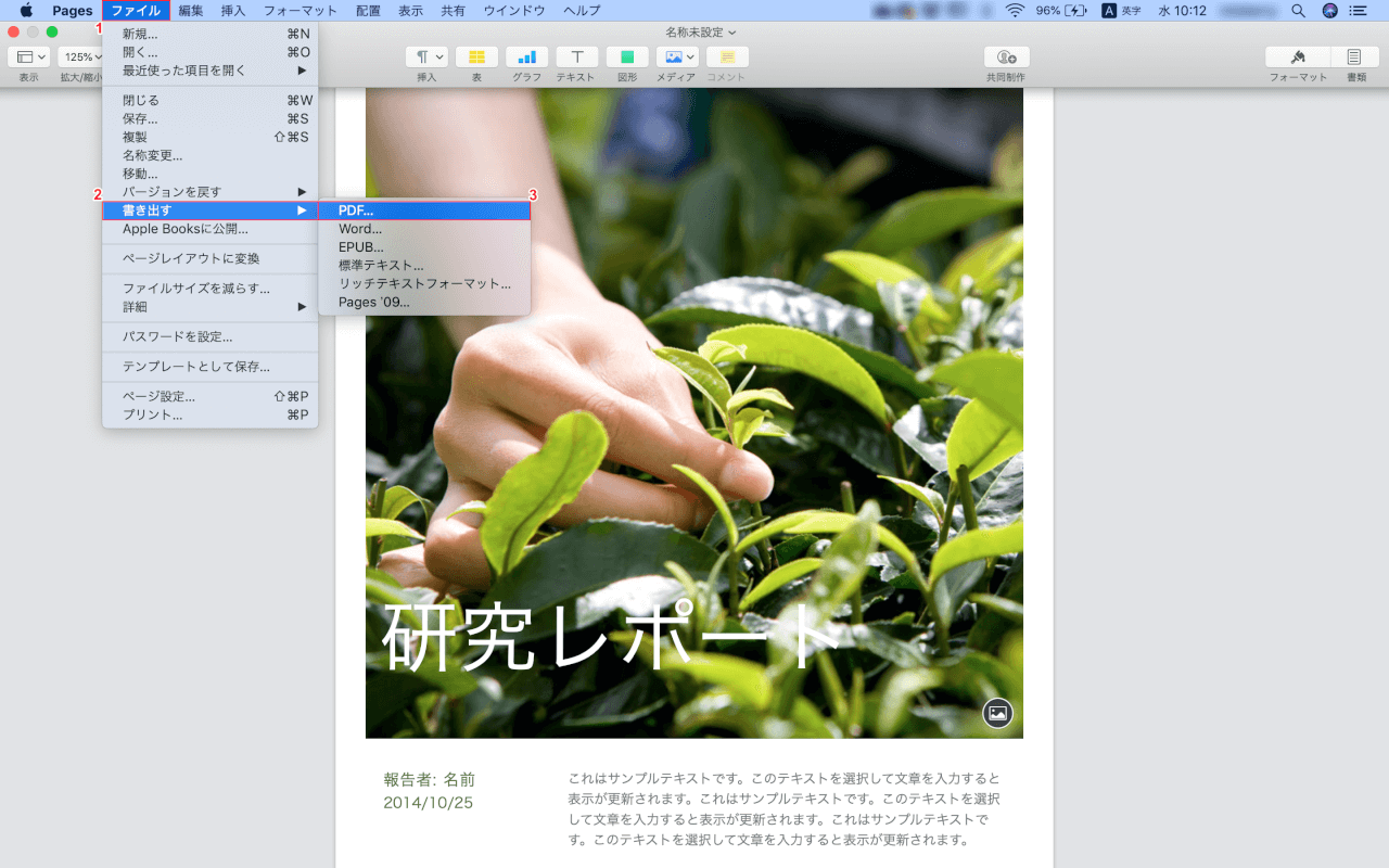 pages Mac 書き出し