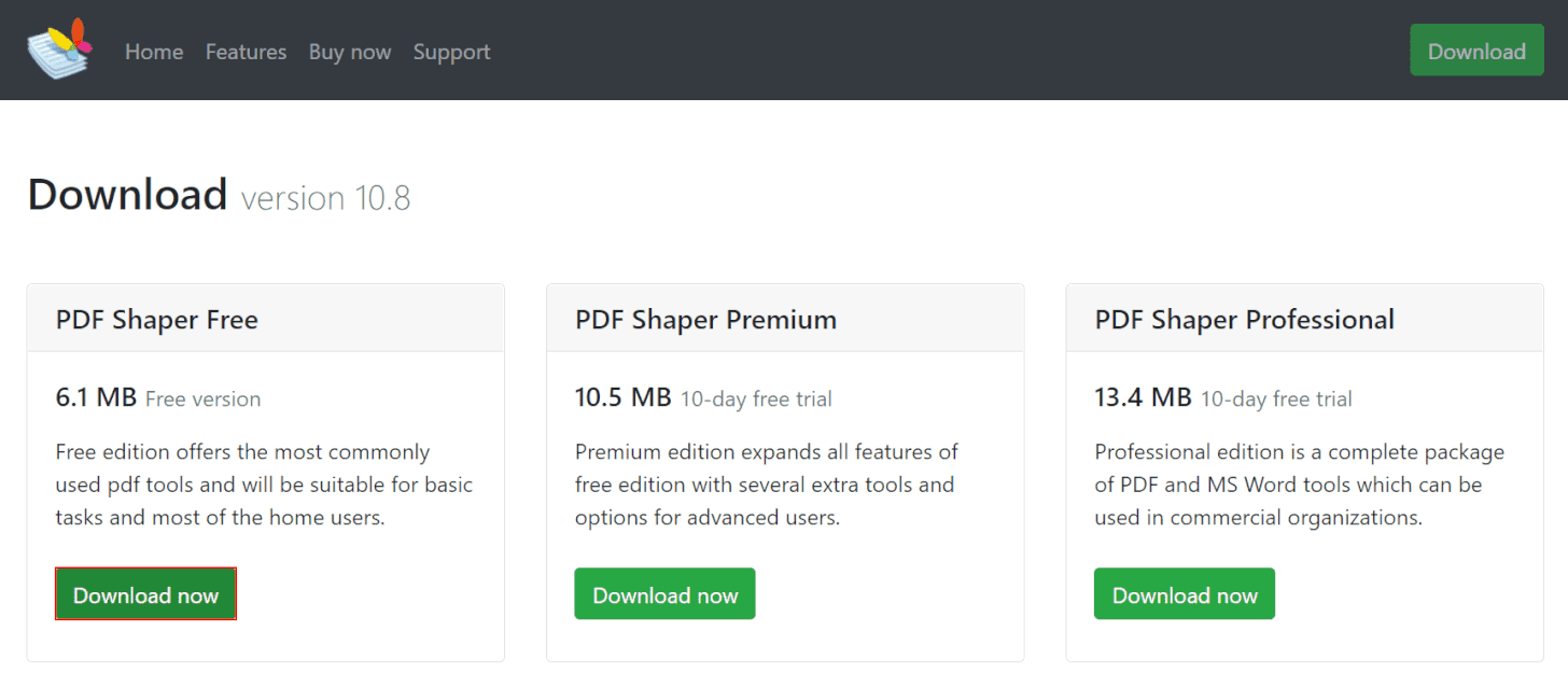 pdf-shaper-free ダウンロードページ