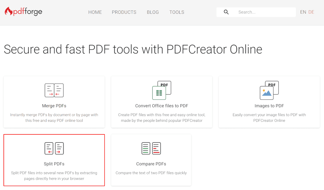Split PDFs
