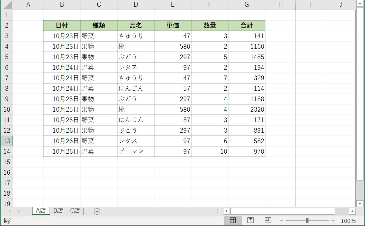 複数シートの表データ