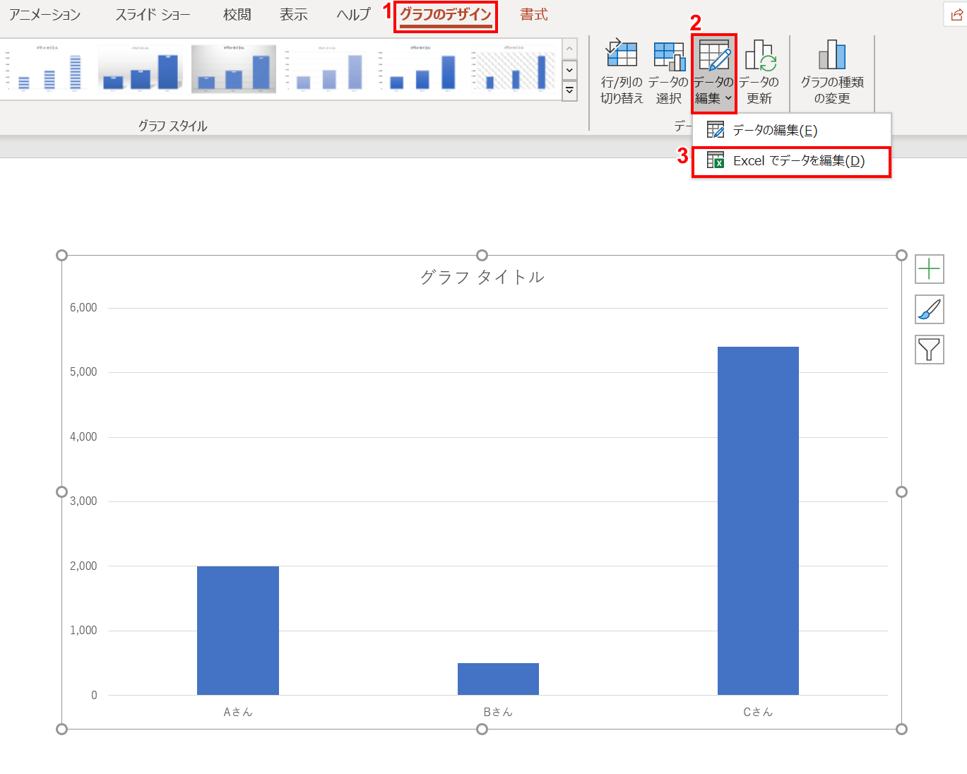 エクセルでデータを編集を選択
