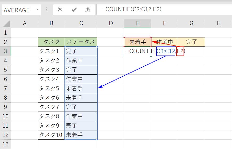 COUNTIF関数でカウント
