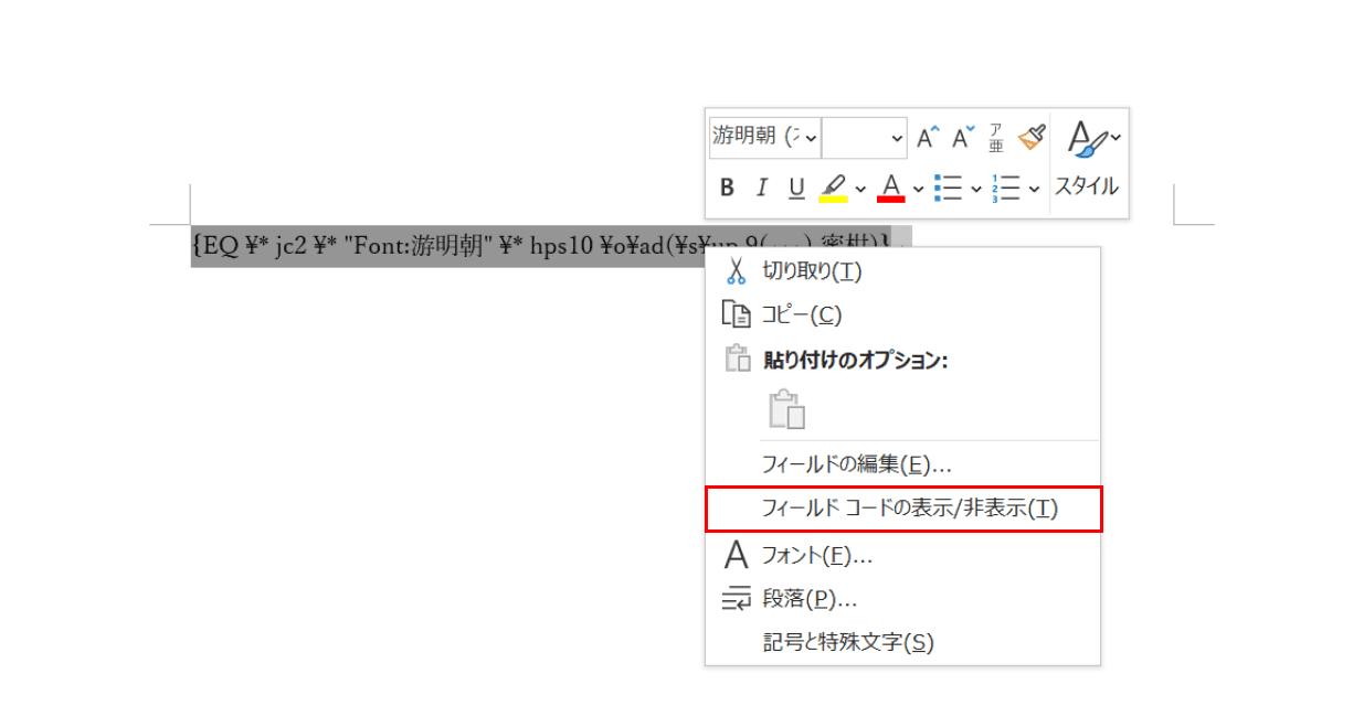 フィールドコードの表示 非表示