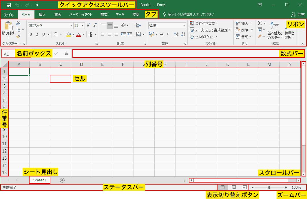 エクセルの画面構成