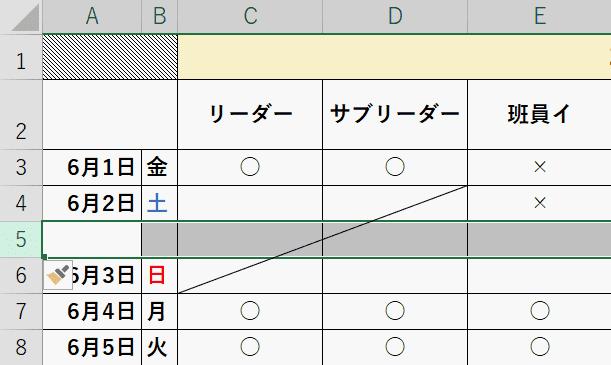 2つのセルにまたがり斜線が引かれる