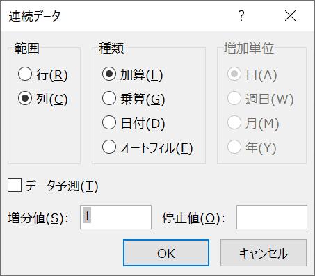 連続データダイアログボックス